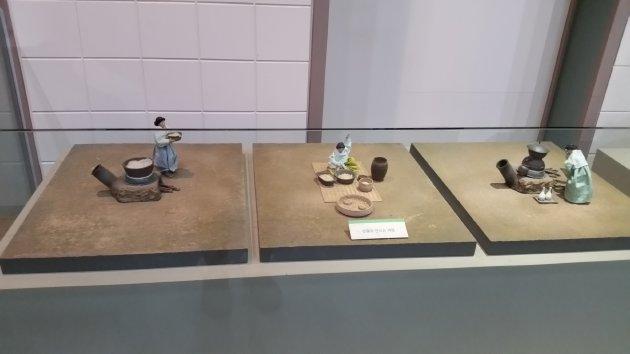 伝統酒を造る過程を表現している模型(2017年7月撮影)